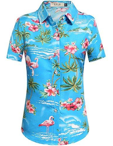 SSLR Damen Hawaiihemd Hawaii Bluse Kurzarm Flamingos 3D Gedruckt Freizeit Lose Aloha Shirts Tops für Strand Reise (Medium, Blau)