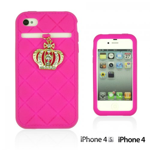 OnlineBestDigital - Crown Style Soft Silicone Case / Housse pour Apple iPhone 4S / Apple iPhone 4 - Jaune Hot Pink