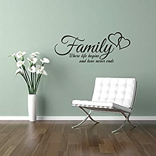 FAMILY where life begins and love never ends, quote wall art sticker decal words, BLACK, 58x23 cm