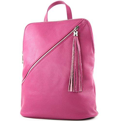 modamoda de - T161- ital Damen Rucksacktasche 3in1 aus Leder, Farbe:T161 Pink
