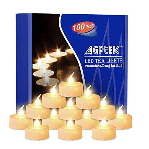 LED Kerzen, AGPTEK 100 Stück Langlebige LED Teelicht Flammenlose Batteriebetrieben Kerzen LED Votivkerzen Teelichter für Halloween, Weihnachten, Geburtstag, Hochzeit, Partys Warm Weiß -Kein Flackern
