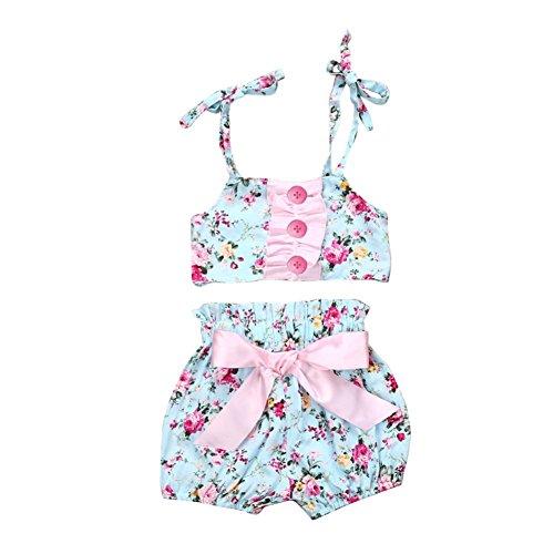 BOBORA Baby Girl Floral Pink Bowknot Bikini Swimsuit 3-24 Months