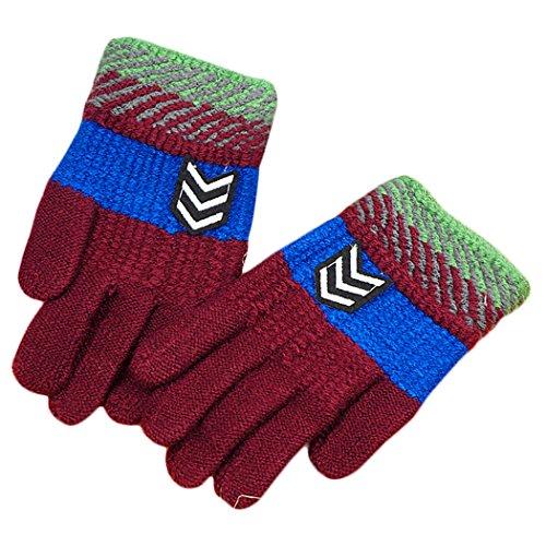 Hikfly Jungen Strick Magic Handschuhe Fäustlinge für Outdoor-Sport thermische Handschuhe Wärmer Handschuhe Weihnachten Geschenk (5-10 Jahre)(Pfeil, Pfirsich) Thermisches Radfahren-handschuhe Frauen