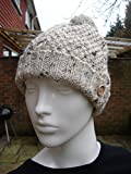 "Gift for Him or Her Aran Cable Hat with Pom Pom, Cream Tweed Aran Yarn Complete with Wooden ""Hand Made With Love Button"""