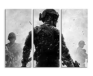 BilligerLuxus toile 3 pièces call of duty mw3 3 x 90 x 40 x 120 cm (totale 90 cm tableau photo imprimé sur toile sur châssis