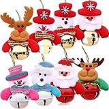 Xinxu Confezione da 8 Campane Campane di Natale Decorazioni Ornamenti, Pupazzi di Neve in Peluche Babbo Natale Orso Polare Alce appesi Pendenti con Decorazioni Albero di Natale