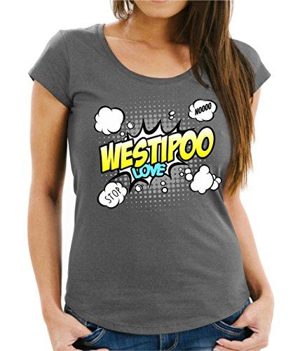 Siviwonder Women T-Shirt - WESTIPOO Designerhund Westi West Highland White Terrier Pudel Mix Hund - Comic Cartoon Fun Dark Grey XL - 40 (Terrier, West Highland Pudel)