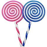 com-four® Juego de 2 Piezas de piruleta Artificial, paletas de plástico en Azul y Rosa, 22.5cm (Piruletas Gigantes - 2 Piezas)
