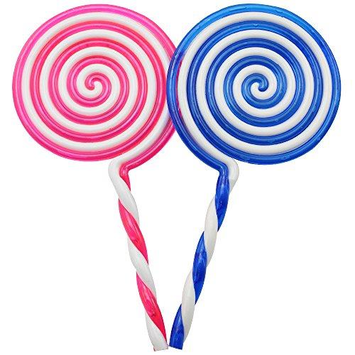 Lolly Kostüm - com-four® 2 künstliche Lollipops, Deko Lutscher aus Kunststoff, 22,5cm [Farbe variiert] (Riesenlolli - 2 Stück)