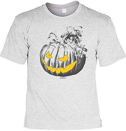 Kürbis Burning Pumpkin grau - gruseliges Shirt als lustige Alternative zum Halloween Kostüm (Zombie-gesicht-ideen Für Halloween)