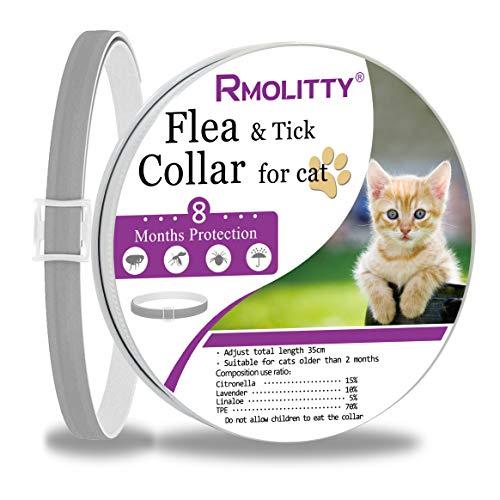 Rmolitty Flohhalsband für Katzen, natürliches Extrakt, gegen Flöhe und Zecken, 8 Monate Schutz für kleine und mittelgroße Katzen