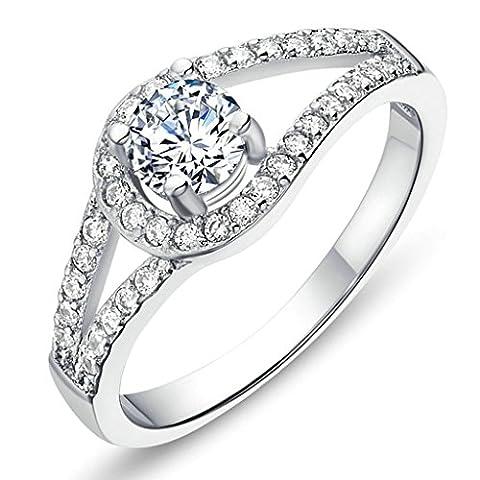 BeyDoDo Modeschmuck Damen Ringe Silber Vergoldet mit Stein Zirkonia Kristall Rund Liebe Ring Größe 52 (16.6)