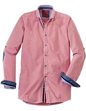 Olymp Hemd, Level five, bodyfit, casual, Trachtenhemd, rot/weiss m. Kontrast