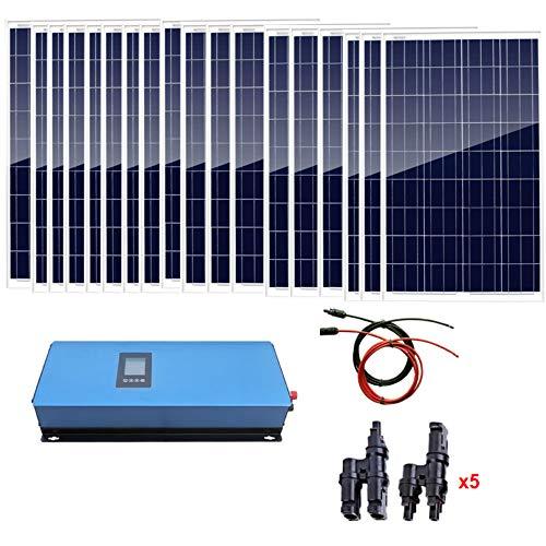 Contenido del paquete: * 18 x 100 W panel solar de poliéster (cada uno tiene 90 cm de cable especial con conectores MC4 conectados a la caja de derivación). * 1 inversor de corbata de 2000 W. * 1 x Total 10 metros rojo y negro cable solar con conecto...