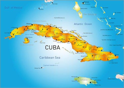 Posterlounge Alubild 80 x 60 cm: Kuba - Landkarte von Editors Choice