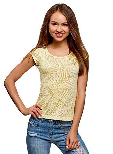 oodji Collection Damen T-Shirt aus Strukturiertem Stoff mit Raglan-Ärmeln, Gelb, DE 42 / EU 44 / XL