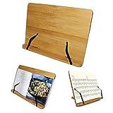 Kurtzy Soporte Para Libros de Cocina - Bambú Atril para Libros de Recetas (33,5cm x 24cm) con 5 Ajustes de Altura - Soporte Perfecto para Libros, Notas Musicales, IPad y Tablet