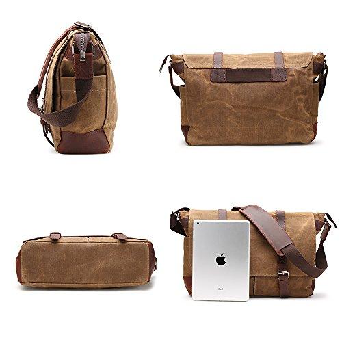 Messenger Bag H-andybag Gewachste Leinwand Unisex Crossbody Arbeiten Schultertasche Passt 15 Zoll Laptop (Khaki) Khaki