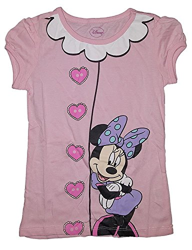 Disney Peeking Minnie Mouse Puff Sleeves Fashion Top - Light Pink (Small) (Sleeve Top Girls Puff)
