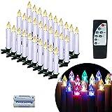 UISEBRT LED Weihnachtskerzen Kabellos 30 Stück mit Fernbedienung, Timer und Batterien - Mini LED Kerzen Bunt RGB + Warmweiß Weihnachtsbaum Lichterkette Christbaumkerzen