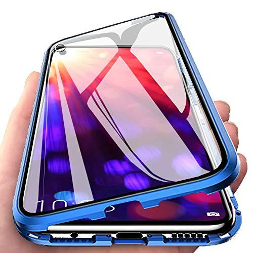 Eabhulie Huawei Honor View 20 Hülle, Vollbildabdeckung Gehärtetem Glas mit Magnetischer Adsorptionskasten Metall Rahmen 360 Grad Komplett Schutzhülle für Huawei Honor View 20 Blau