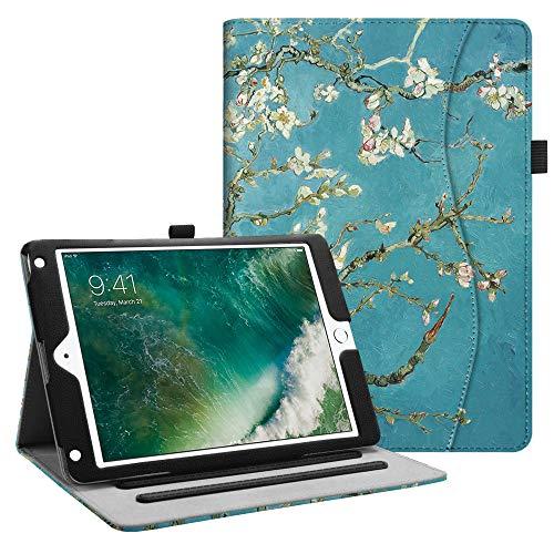 Fintie Hülle für iPad 9.7 Zoll 2018 2017 / iPad Air 2 / iPad Air - [Eckenschutz] Multi-Winkel Betrachtung Folio Stand Schutzhülle Case mit Dokumentschlitze, Auto Wake/Sleep, Mandelblüten