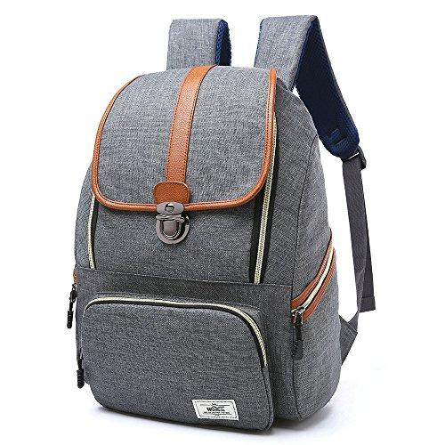 R202 Laptop Bag 17inch Casual Unisex Waterproof Oxford School Backpack Rucksack (Gray)
