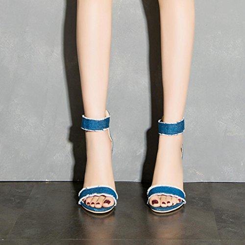 OverDose Damen Pumps Fashion High Heels Schuhe Hochzeit Damen Denim High-Heels Sandalen Hellblau