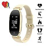 TechCode Bluetooth Activity Fitness Tracker Uhr, Bluetooth Wasserdichte Smart Uhr Mode Frauen Damen Pulsmesser Fitness Tracker Smart Uhr Für Android IOS (Golden)