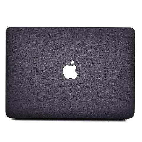 Coque MacBook Pro 15 Retina Case, AQYLQ Coque Rigide Housse en plastique Snap Seulement pour [Génération Précédente] MacBook Pro 15 pouces avec écran Retina (A1398, pas de CD-ROM) - Tissu noir