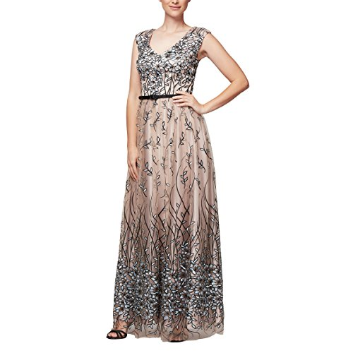 Alex Evenings Damen Sleeveless V-Neck Embroidered Gown with Satin Detail Kleid für besondere Anlässe, Nude Multi, 36 Satin Cocktail Kleid