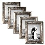 PHOTOLINI 5er Set Bilderrahmen 21x30 cm/DIN A4 Silber Barock Antik Massivholz mit Glasscheibe und Zubehör/Fotorahmen / Barock-Rahmen