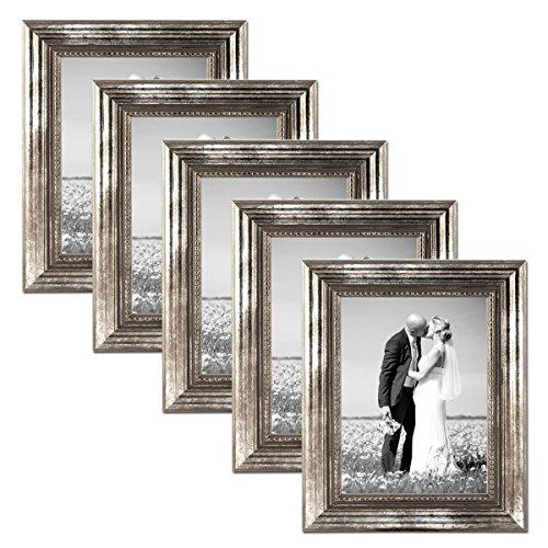 PHOTOLINI 5er Set Bilderrahmen 21x30 cm/DIN A4 Silber Barock Antik Massivholz mit Glasscheibe und...