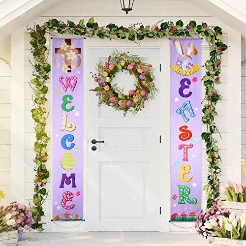Set di decorazioni pasquali segno di portico di pasqua welcome happy easter decorazione d'attaccatura di pasqua dell'insegna per interno/ esterno decorazione di pasqua festa di pasqua (colore 12)
