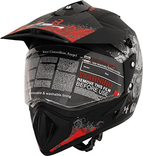 Vega Off Road Gangster OFRGDBR1 Helmet (Dull Black and Red, M)