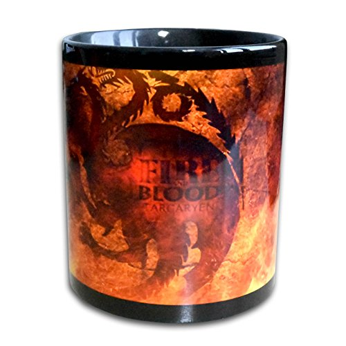Fire and Blood Daenerys Targaryen Game of Thrones – Ein Unikat und echte Handarbeit! Designer Tasse aus brillanten Porzellan – Tasse, Becher, Kaffeetasse, Teetasse Keramik Tasse, 330ml, Geschenk für Freunde! Designer Geschnenkverpackung inklusive!! (schwarz rot)