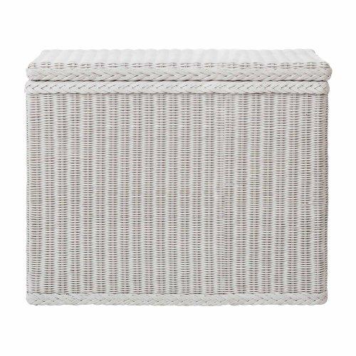 """URBANARA Wäschekorb """"Java"""" - 100% Rattan, Wäschebox rechteckig mit Klappdeckel und drei Fächern - Wäschesammler (78 x 40 x 68 cm, Weiß)"""