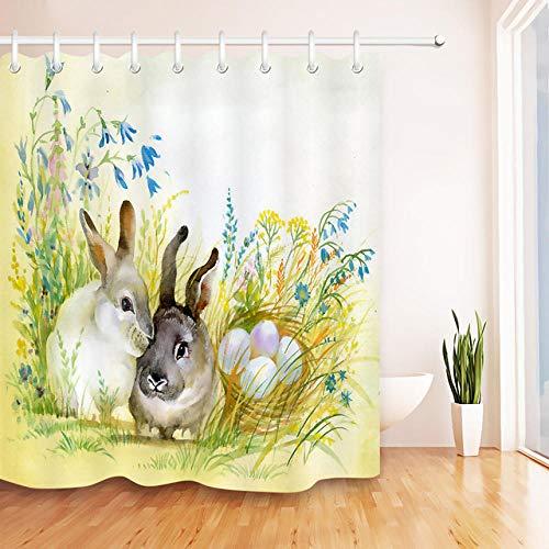 orhang Mit Mat Custom Aquarell Zwei Niedlichen Kaninchen Auf Gras Ei Ostern Bad Vorhangstoff Für Badewanne Dekor 180x180cm ()