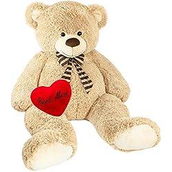 BRUBAKER Peluche gigante XXL - Oso/Osito de peluche - 150 cm - Beige - 'Best Mum' corazón de peluche incluido
