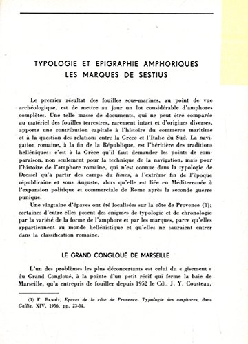 Typologie et epigraphie amphoriques. Les marques de Sestius.