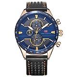 Mini Focus Herren Fashion Analog Quarz echtem Lederband Uhren für MAN CLASSIC Armbanduhr für Herren Jährliche 2018schwarz blau