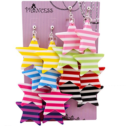 big-size-35mm-color-strip-star-design-fashion-dangle-clip-on-earrings-pack-of-8-pairs