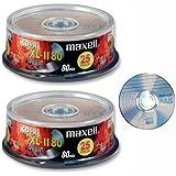 Maxell CD-R MUSIC CD (XL-11 80 Music) - 80 minute Blank Music CD (Compact Disc Digital Audio Recordable) - Compatible with Steepletone Edinburgh, Lancaster, SMC922 & SMC595 + Inovalley Retro 09 & Retro 11 Paris + TEAC LP-R400 & LPR500 Music Centres - 2 x Pack 25 on spindle (Digital Technology UK Ltd Pack)