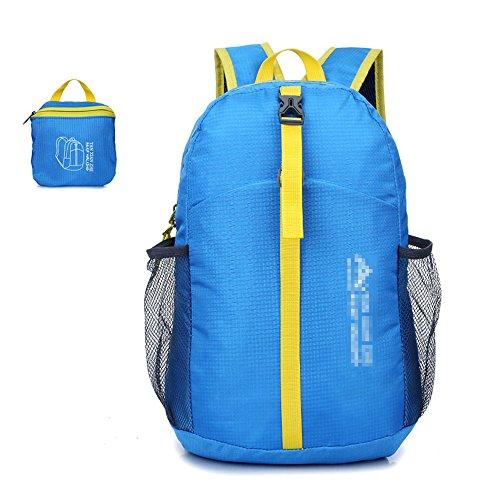 Outdoor Camping Wander Rucksack Reise Schultern faltbarer Beutel himmelblau