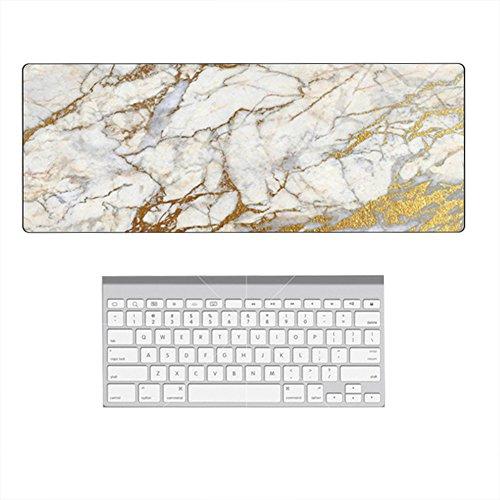 ing Mauspad Großes Mouse Pad Marmor Muster Schreibtischunterlage 800 x 300 x 3mm für Computerbüro, Gaming, Desktop-Dekoration - Weißes Gold ()
