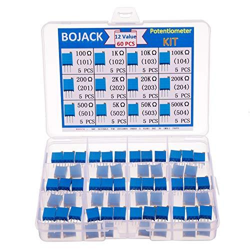 BOJACK 12 valores 60 piezas 100 a 500K ohm 3296W Kit de surtido de potenciómetro de recortador de vueltas múltiples paquete en una caja de plástico transparente