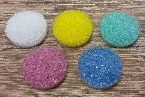 yagma Dekorzucker Set - Frühlingsmix (weiss, gelb, türkis, pink, blau) - Streuzucker (200 g)