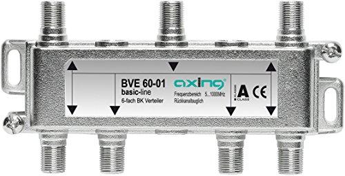 Axing BVE 60-01 6-Fach BK-Verteiler (5-1000 MHz) für Kabelfernsehen und DVB-T2 HD, F-Anschlüsse
