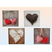 Bild Kunstdruck Herzmotive Wanddekoration 4 Stück