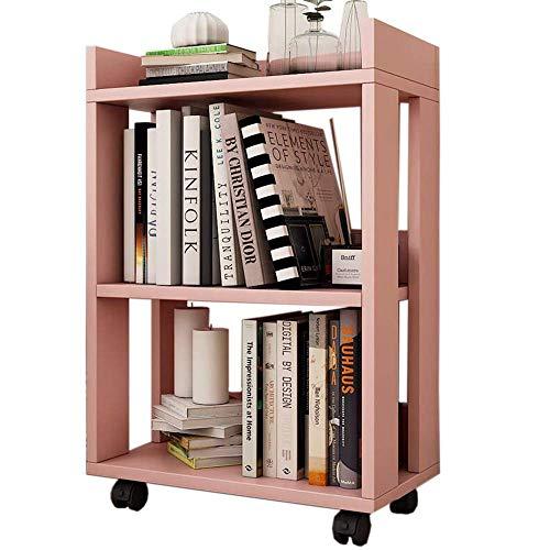 ACZZ Regale Multifunktions-Rollregal Kleines Bücherregal Bücherregal Bodenständer Holz Beweglich, Vier Farben,Hell-Pink,45 * 24 * 67 cm